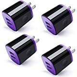 USB Charging Cube,4 Pack Charger Adapter 2.1A/5V Dual Port Quick Charger Plug Power Adapter Travel Wall Charger Compatible with iPhone X/8/7/6 Plus,Samsung Galaxy S7 S6,HTC,LG,Motorola,Android Phone
