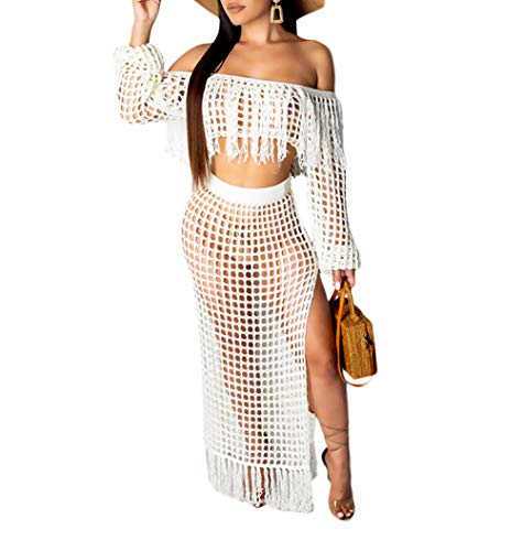 Women Two Piece Skirt Set - Tassel Hollow Out Off Shoulder High Split Cover Up Bikini Beach Dresses (White, 3XL)