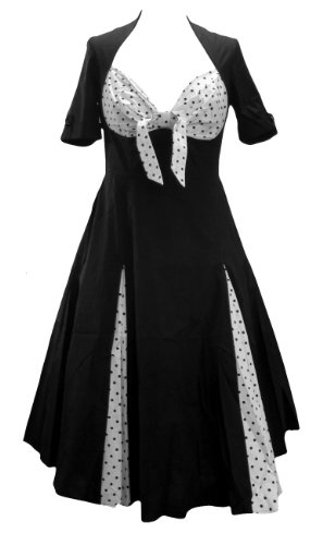 [Polka Dot Sweetheart Rockabilly Swing Jive Bunny Dress. Size 22] (Burlesque Fancy Dress Plus Size)