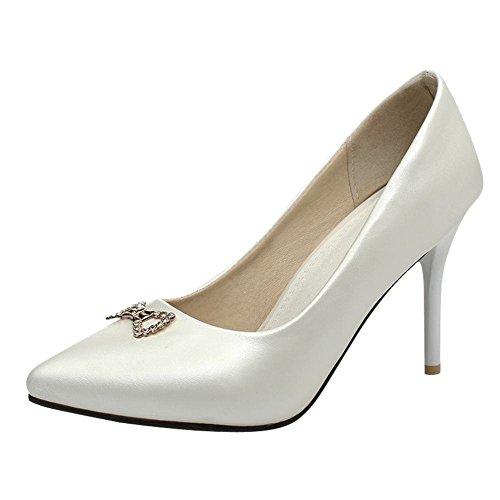 Mee Shoes Damen modern populär reizvoll Trichterabsatz Stiletto Geschlossen Strass Pumps Weiß