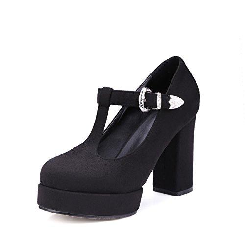 Susanny Block High Heel Pump Women's Mary-Jane T-Strap Round Toe Faux Suede Platform Black Dress Pumps Shoes 3.5 B (M) US