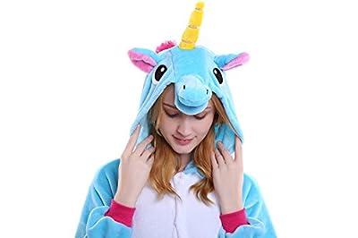 Halloween Unicorn Onesie Costume Adult Animals Blue Unicorn Pajamas Cute Sleepwear