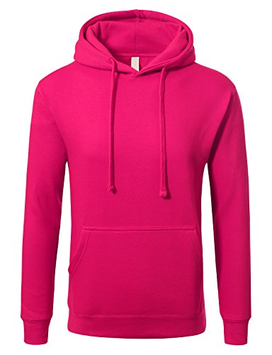 JD Apparel Men's Pullover Fleece Active Hoodie Sweatshirt 2XL Fuchsia