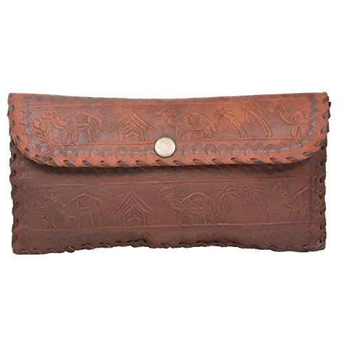 Handcraft's ''Emily'' Camel Emboss Women's Girls Genuine Leather Wallet Purse Make-up Pouch Small by Handcraft
