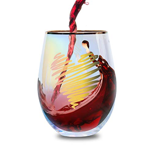 E-liu Stemless Wine Glass, 18 Ounces Rainbow Tumbler, Gold Rimmed Cup for White or Red Wine, Novelty Gift with Heart Pattern