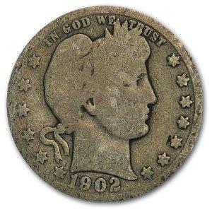 1902 O Barber Quarter Good Quarter Good