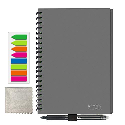 - Reusable Smart Notebook, A5 Size Wirebound Notebook 100 Pages - 50 Pages Wide Rule & 50 Pages Dotted - Cloud Storage [Included with 1 x Erasable Pen, 1 x Microfiber Cloth] (gray)