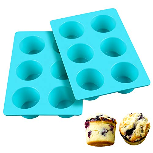 SJ European LFGB Silicone Jumbo Muffin Pan, 6 Cups 5oz Food Grade Silicone Molds Egg Cupcake Pans, Light Blue Texas Muffin Pans, Non-Stick & BPA Free, Pack of 2