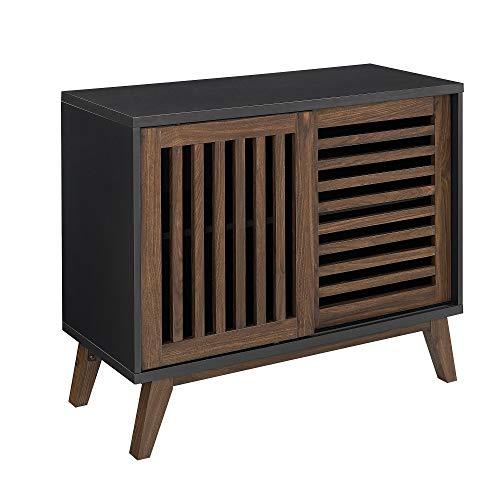 Mid Century Transitional TV Console Cabinet with Adjustable Shelves and Sliding Slat Door - Includes Modhaus Living Pen (Black Dark Walnut)