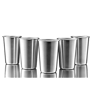 Modern Innovations Stainless Steel Pint Cups, Set of 5 16 oz BPA Free Stainless Steel Cup Great as a Camping Cup for Outdoor and Everyday Use as a Stainless Steel Tumbler & Beer Pint Glasses