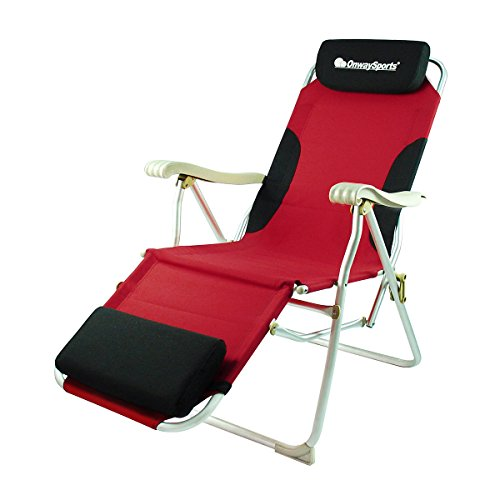 OnwaySports Aluminum Frame Reclining Chair with Headrest and Footrest Lightweight Foldable Portable for Camping