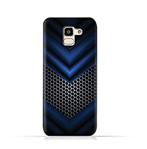 AMC Design Samsung Galaxy J6 2018 TPU Silicone Protective case with Abstract Blue Mesh Pattern