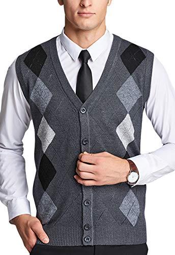 - Z&A Mens Jacquard Argyle Knit Sleeveless Cardigan Sweater Vest with Front Button (Medium, Dark Grey)