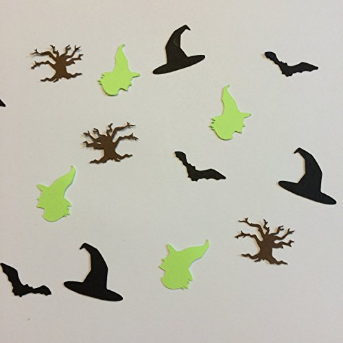 [1in Confetti Set, Witch Cut Out, Witch Hat Cut Out, Bat Cut Out, Tree Cut Out, Fall Decorations, Autumn Decorations, Halloween Decorations, Halloween Party] (Witch Cutouts)