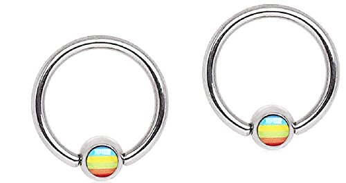 Nipple Logo Captive (Captive Hoop Rings Steel Bead Rainbow Flag Logo Ball 16G Pair)