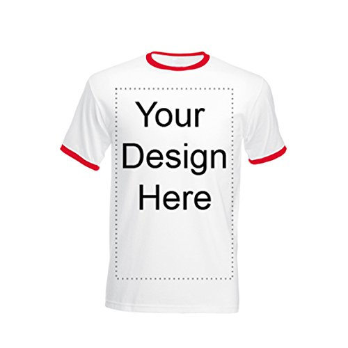 Add Your Own Personalized Message or Image Custom Text Name Men Ringer T-Shirts, Mens-White/Red-Medium