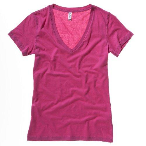 Bella Canvas Jersey Deep V-Neck T-Shirt Berry XL