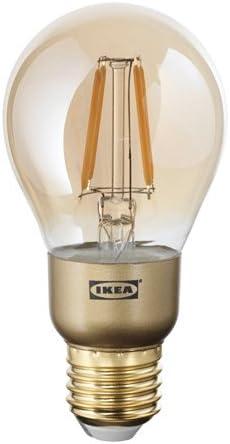 IKEA LUNNOM LED Lampe in braun; rund; Klarglas; E27; 400lm