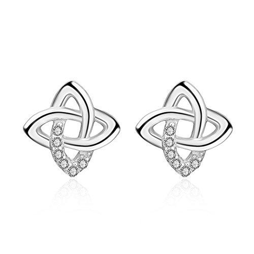 (YFN Celtic Knot Earring Vintage Sterling Silver Flower Women Stud Earrings 10mm (18 K White Gold Tone Sterling Silver Celtic Knot Stud Earring))