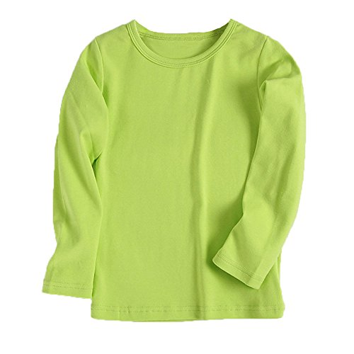Birdfly Baby Unisex Basic Plain T-Shirt Top Toddlers Kids Long Sleeve Sweatshirt Soft Cotton Tees Under 5 Dollar (24M, Green)