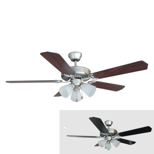 Hardware House 17-5890 Palladium Satin Nickel 52-Inch Triple Mount Ceiling Fan Light, Black or Cherry Blades (Palladium Satin)