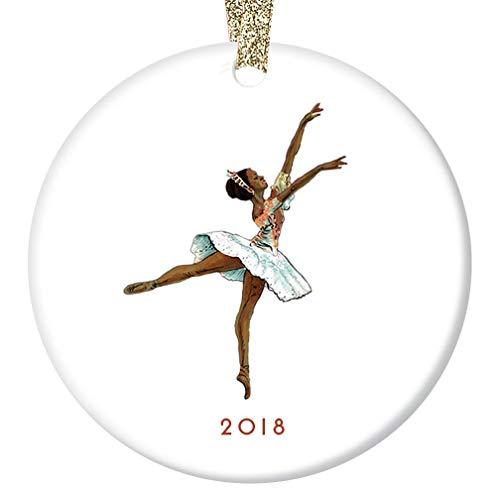 "Nutcracker Ballerina Christmas Ornament 2018 Black Dancing Sugarplum Fairy Ceramic Collectible Holiday Gift Idea for Ballet Dancer 3"" Flat Porcelain Keepsake with Gold Ribbon & Free Gift Box OR00030"