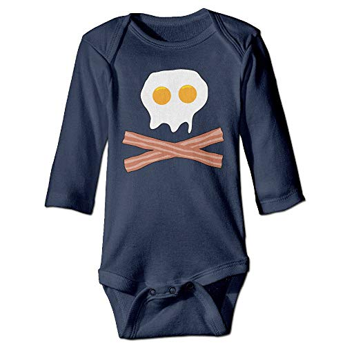 Trikahan Unisex Baby Onesies Bacon Egg Skull Crossbones Long Sleeve Bodysuits Jumpsuit Outfit Clothes Navy ()