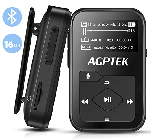 Clip MP3 Player with Bluetooth, AGPTEK 16GB Lossless B07S Music Player with FM Radio Voice Recorder for Sports, Running, Support up to 128GB