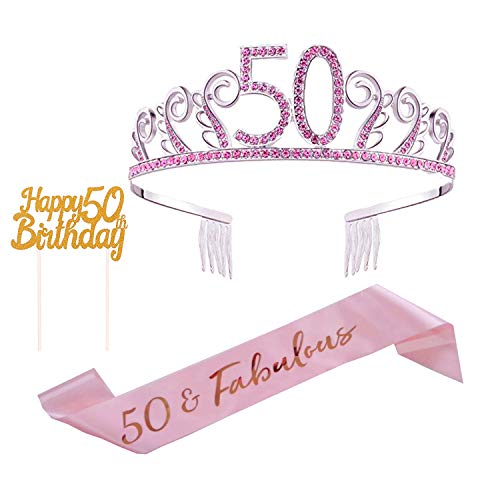 50th Birthday Cake Topper,50thSash Satin 50 & Fabulous Sash and Pink Rhinestone 50thTiara for 50th Birthday Decorations and Party Supplies]()