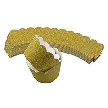 Mybbshower Gold Metallic Glitter Cupcake Wrapper Standard Size for Wedding Parties Pack of 24
