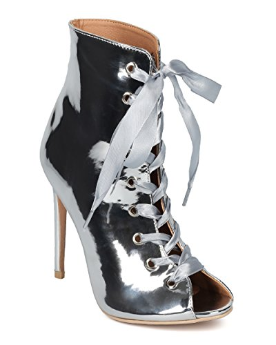 Women Peep Toe Stiletto Ankle Boot - Ribbon Lace Up Bootie - Dressy Costume Cosplay Party Bootie - Brooklyn-1A By Indulge - Silver Metallic (Size: (Silver Costume Boots)