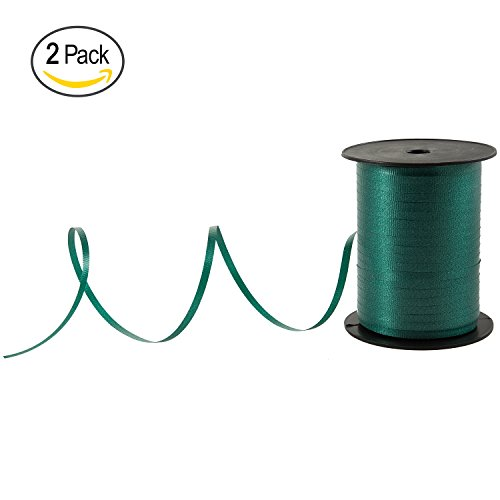 Set of 2 - Emerald Teal Green Curling Ribbon For Balloons & Gifts Decoration, 500 Yard Roll (1500 FT Spool) Bulk, By Royal Imports (MADE IN ITALY ) (Ribbon Reversible Satin Trim)