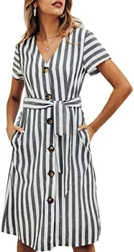 1019d65ad3 ECOWISH Women's Summer Striped Print V Neck Short Sleeve Button Down Belted  Midi Dress with Pockets