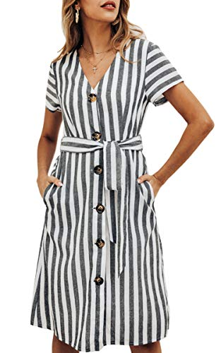 ECOWISH Women's Summer Striped Print V Neck Short Sleeve Button Down Belted Midi Dress with Pockets Black Medium