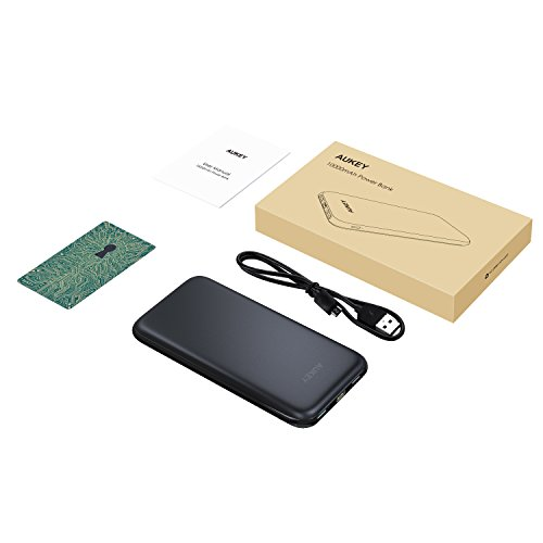 AUKEY 10000mAh portable Charger Slimline design and design power Bank twin Port 24A production Battery Pack for iPhone X 8 Plus Samsung Galaxy Note8 and a lot more External Battery Packs