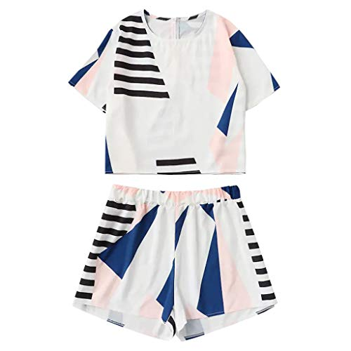 Two Piece Suits for Women Casual Loose O-Neck Short Sleeve Printing Tops Blouse and Pants Shorts Fashion Sets White