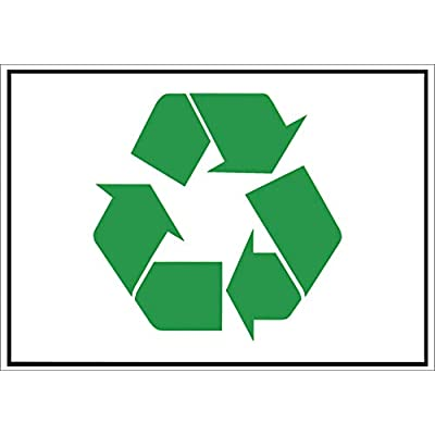 Green Recycle Symbol Sticker 7.5 x 10.75 in. Encourage Recycling. Weather Resistant.: Automotive