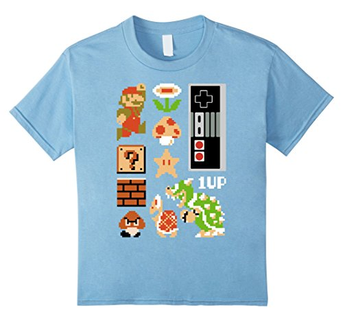 Kids Nintendo Super Mario NES 8-bit Retro Icons Graphic T-Shirt 8 Baby Blue
