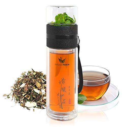 INFUSE PEACE 14oz Double-Layer Glass TEA/HERBAL/FRUIT/WATER/SOUP Bottle/Infuser/Tumbler/Cup/Mug with Stainless Steel Filter BPA/Lead-free