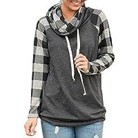 Acelitt Women's Cowl Neck Long Sleeve Sweatshirt Loose Raglan Shirt Plaid Pullover (S-XXL)