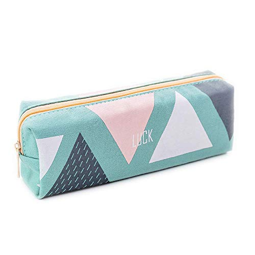 Portable Pencil Case Cute Canvas Pen Bag Pencil Pouch with Zipper Pen Holder for Student (Green) (Pencil Cases Small)