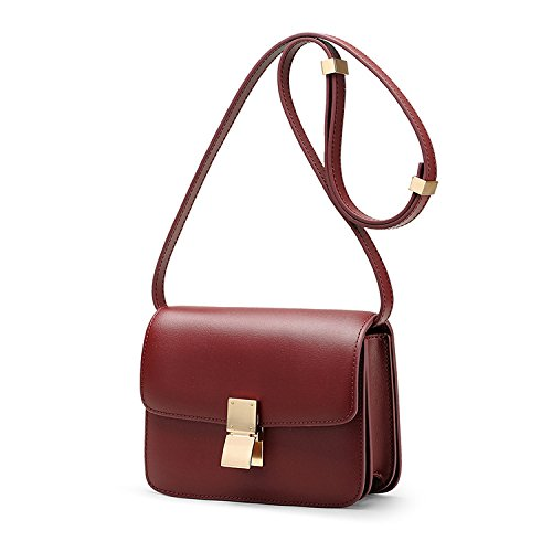 Diagonal Square Retro Package Bag Leather Handbags Women's rub Shoulder Small Hand Wine Red SwTpqA
