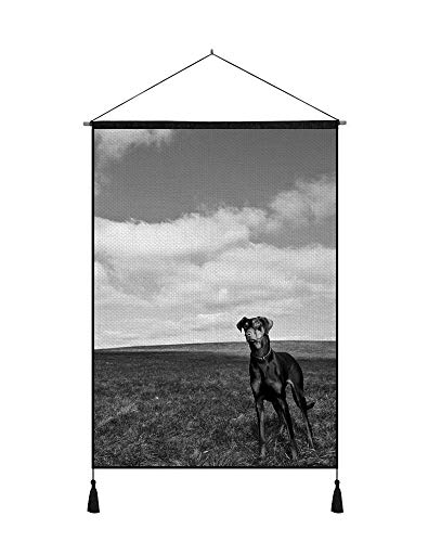 SHOBRILF 24x32 Inches Art Ptint Wall Scroll Poster - Dog Grass Walk Sky Horizon - Wall Art Hanging Shaft Painting for Wall Decoration Black and White ()