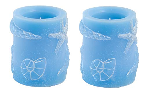 Boston International Set of 2 Flameless LED Candle with Sea Shell Accents, 3 x 4-Inches, Small Blue