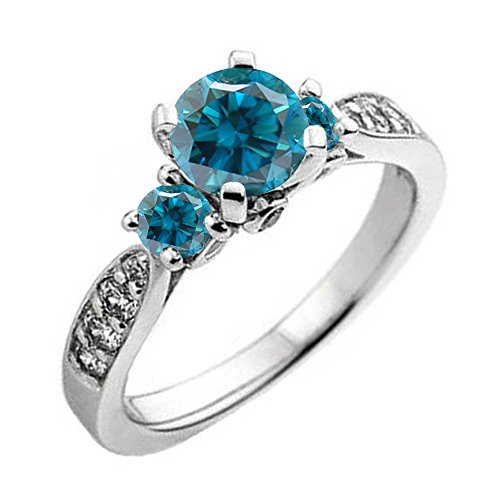 1.00 Carat (ctw) 10K Gold Round Blue & White Diamond Ladies 3 Stone Bridal Engagement Ring 1 CT