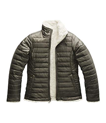 The North Face Kids Girl's Reversible Mossbud Swirl Jacket (Little Kids/Big Kids) New Taupe Green Large ()