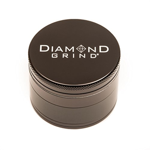 (Diamond Grind 4 Piece Aluminum Herb Grinder with screen 56mm (2.25