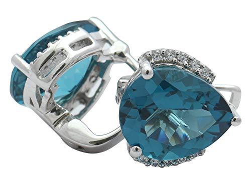 Banithani 925 Sterling Silver London Blue Topaz Glass White CZ Stone Stud Earrings Women Fashion Jewelry