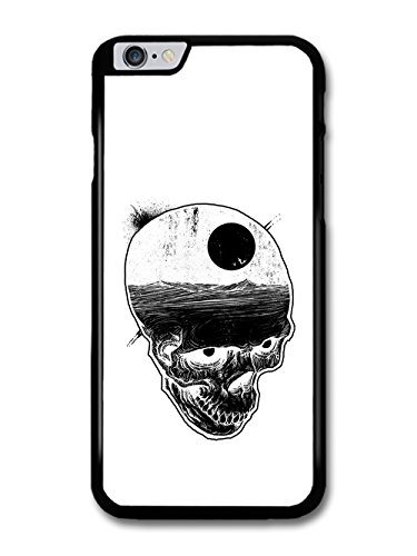 Skull with Night Sky and Bats over Ocean Illustration in Black and White case for iPhone 6 Plus 6S Plus