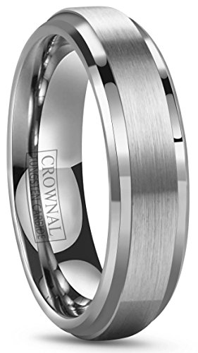 6 Mm Beveled Edge (6mm 8mm 10mm Tungsten Wedding Band Ring Men Women Polished Beveled Edge Matte Brushed Finish Center Comfort Fit Size 5 To 17 (6mm,8.5))